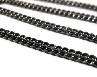 Gunmetal Curb Chain, 3mm Curb Chain, By the Foot, Dark Black Thin Chain for Making Jewelry (40099149)