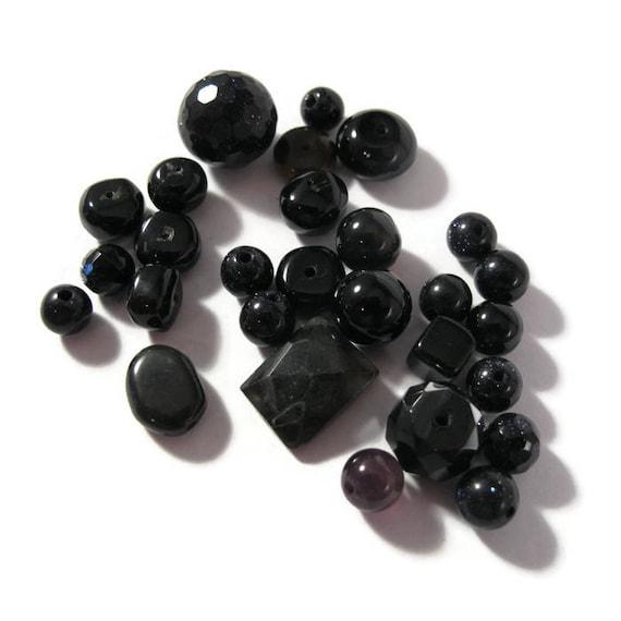 Gemstone Bead Mix, Black Gemstone Grab Bag, 28 Beads for ...