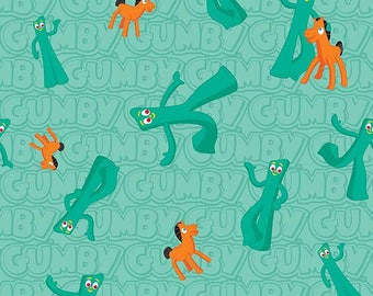 Gumby and Pokey Characters Main on green, by Riley Blake Designs, yard