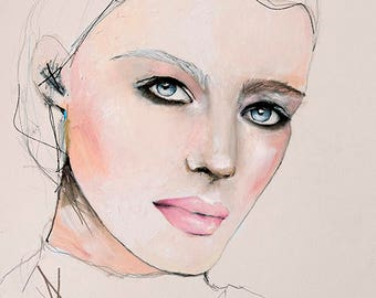 Slate - Fashion Illustration Art Print, Portrait, Mixed Media Painting by Leigh Viner