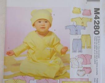 McCalls 4280, Infant Layette Pattern, Infant Baby Gown Pattern, Baby Blanket Pattern, Infant Hat Cap Pattern, Infant Dress Pattern
