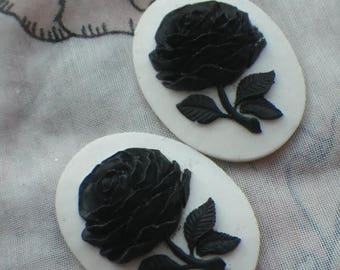 SALE 20% Off Pitch Black Big Blossom Resin Cameos Snow White Background 40x30mm 2 Pcs
