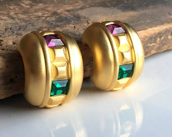 Vintage Givenchy Earrings, Gold Plated Earrings, Vintage Clip On Earrings, Purple Stone, Green Stone, Etsy, Etsy Vintage