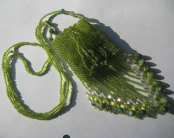 Beaded Medicine Bag Necklace, Amulet Bag, Wish Bag, Treasure Bag in shades of green