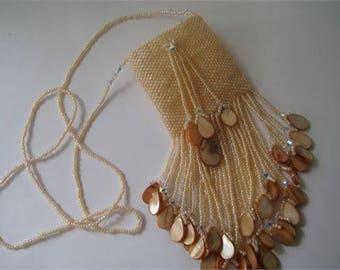 Beaded Medicine Bag Necklace in Peach, Amulet Bag,Treasure Bag, Wish Bag, Hand beaded