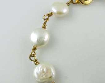 Coin Pearl Bracelet, 7.5 in. - Gold-Filled, Pearls