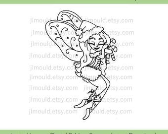Digital Stamp Digi Limited Edition Instant Download JessicaLynnOriginal Merry Christmas Fairy Candy Cane Limited License Card Making