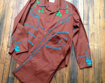 Vintage Katy K Western Suit XXL cotton contemporary cowboy chainstitching blue birds and rose railroad tracks 1990s horseshoe tattoo flash