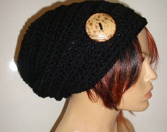 Black Slouchy Beanie Hat, Crocheted Slouch Hat, Fall Colors, Knit Slouch Hat, Hat with Button, Warm Hat, Premium Acrylic Yarn, Gift