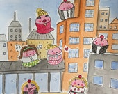 Final Sale original CakeSpy Watercolor: Crybaby Baltimore Cupcakes
