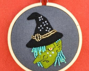 wool felt halloween witch miniature wall hanging OOAK