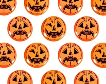 "Trick or Treat (Set of 2) Halloween 1"" Pinback Buttons - Jack o'lantern, Plastic Pumpkin, Blow mold, Halloween Decoration"