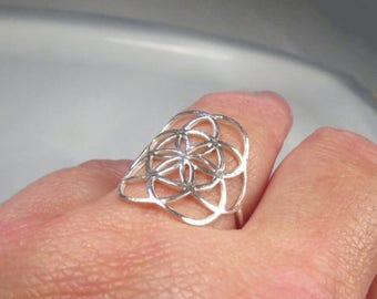 SALE - Seed of life ring, Sacred geometry flower of life ring, Big silver ring, Yoga jewelry
