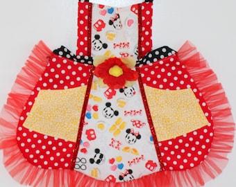 Emoji Minnie and Mickey  Apron, toddler apron, girls apron
