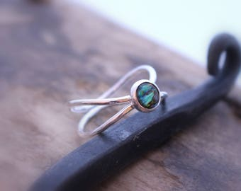 Sterling Silver Gemstone Double Band Ring