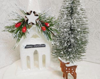 Winter Snowy Days Country Church and Reindeer in the Snow, Cloche Filler Decor, Hand Painted, Christmas Display, Winter Decor, ECS