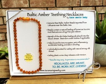 RAW Unpolished Cognac Natural Baltic Amber Teething Necklace. 12.5 inch. Safety-knotted with screw clasp