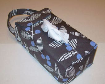 NEW!  Automobile Hanging Tissue Box Cover / Tissue Box Cozy / Automobile Accessory For Your Car / Follie / Blue Berries On Gray