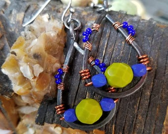 1.5 in.  hammered, steel, copper, wire, wrapped, chartreuse, leaf, green, faceted, cobalt, blue, Czech, glass, beads, earrings, ooak, unique