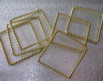 12  Twisted Square Gold Plated Metal Link Connector Earring Drop 48mm