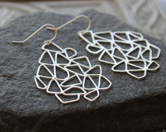 Large Geometric Silver Earrings, Metalwork, Chandelier Sterling earrings