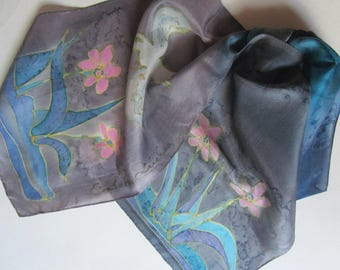 Artesian Hand Painted Batik SIlk Scarf White Dove Water Flowers
