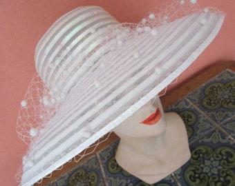 Eric Javits White Flocked Sheer Hat Iridescent Sequins  Bridal Wedding Derby Church Easter