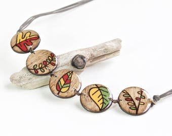 Wood Leaf Bib Necklace in Fall Colors, Big Bold Statement Necklace, Large Geometric Collar Necklace, Unique Wooden Necklaces for Women