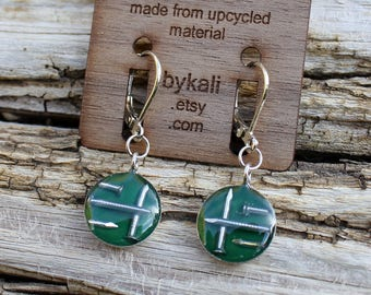 little nail lever back earrings in emerald green
