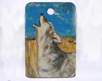 "Coyote Art - Wolf Dog Art - Call of the Wild - Woodland Animal Art - Original Miniature Painting - Kids Room Wall Decor - 2""x3"" mini art"