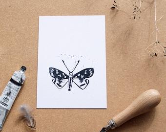 Moth lino print