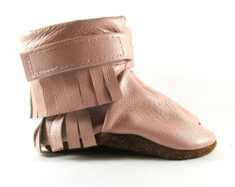 6 to 12 Month Soft Sole Fringe, Pink Leather Baby Shoes, Boots
