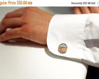 SUMMER SALE Made to Order Vintage Map Sterling Silver Round Cufflinks. You Select the Journey.