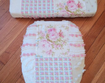 Love Vanilla Rose Vintage Chenille Toilet Seat Cover Set