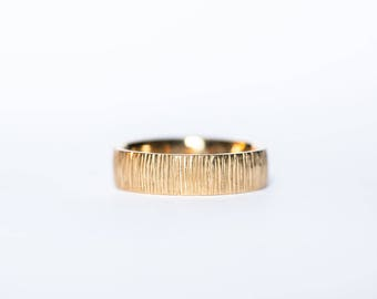 Men's Gold Bamboo wedding ring- 14k solid yellow gold band ring with bamboo inspired texture
