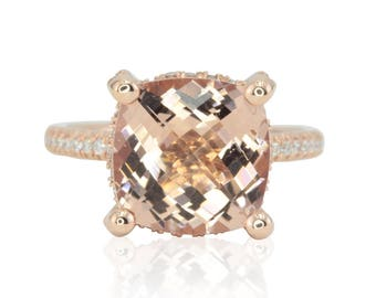 Morganite Engagement Ring - Rose Gold Ring with Square Cushion cut Morganite, Diamond Side Halo, Hidden Hearts and Initials Shank - LS4413