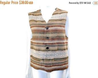 Summer Sale Vintage Exclusive Paragraff Vest // Retro Woven Brown Color Jute Cotton Vest// Size M // 152