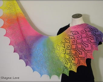 Shayna Love Strawberry Lace - hand knit shawl scarf - crescent shaped RAINBOW