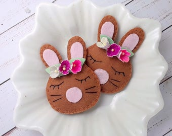 Felt Hair clips - handmade padded Rabbit hair clip or hair tie, bunny rabbit barrette, bunny rabbit bobble, brown rabbit hair clip