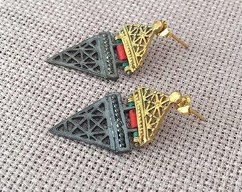 Tribal Afghan Silver earrings, Turkish jewelry, Gold plated ,Coral, Turquoise earring