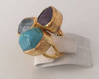 Triple Gold plated  Turquoise, Aquamarine Jade  ring