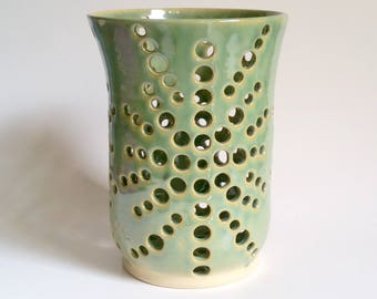 Large, Tall Green Orchid Flower Pot with Air Vents  -  Wheel Thrown Pottery - Free Shipping in the US