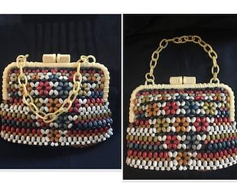 Vintage 1930's Wood Bead Czechoslavakian Handbag with Bakelite Handles
