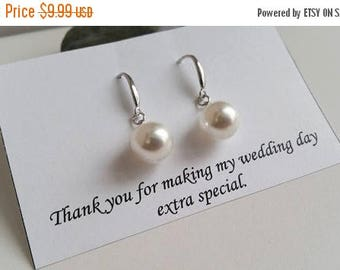 ON-SALE Bridesmaid Pearl Dangle Earrings, Bridal Party Gift, Pearl Earrings, Earrings Stud, Birthday Gift, 10mm