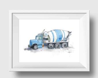Cement Mixer Truck Print - Cement Mixer Nursery Print - Boys Blue Truck Print - Cement Mixer Watercolor Print