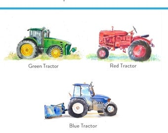 Set of 3 Tractor Prints - Childrens Wall Art - Green Tractor Print - Blue Tractor - Red Tractor - Farm Tractor Painting - Farm Tractor Art