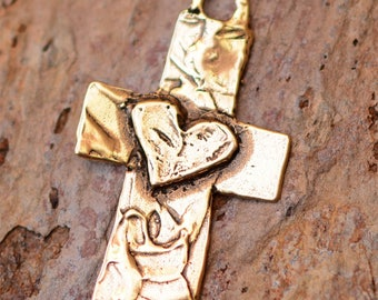 Cross with Heart Pendant in Gold Bronze, CR-157A