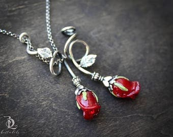Belle's Rose // Red Rose and Sterling Flower Necklace, welded, silversmith by BellaLili