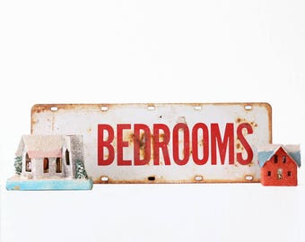 Vintage Bedrooms Sign, Red and White