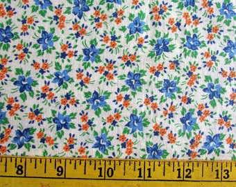 Vintage Floral uncut FEEDSACK Fabric 1940s Petite Flower Print Quilting Craft Sewing Material 38x44